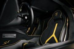 Aventador SV的驾驶舱 免版税库存图片
