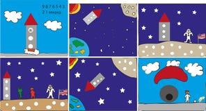 Aventura americana del espacio del astronauta Fotografía de archivo