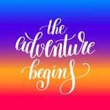 A aventura começa citações inspiradas positivas escritas à mão Foto de Stock Royalty Free