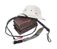 A aventura da exploração registra o capacete de Pith Whip Dagger fotografia de stock royalty free