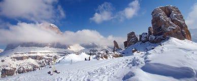 Aventura de esqui das dolomites Foto de Stock Royalty Free