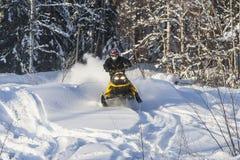Aventura de la moto de nieve Imágenes de archivo libres de regalías