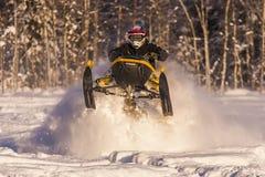 Aventura de la moto de nieve Fotografía de archivo