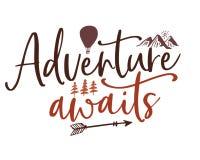 A aventura decorativa ilustrada espera citações ilustração royalty free