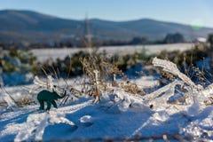Aventura del invierno del elefante de la plastilina Hierba congelada Fotos de archivo