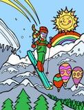 Aventura del niño: Esquí del acantilado ilustración del vector