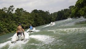 Aventura del viaje del barco de río de Belice Foto de archivo