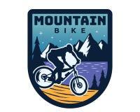 Aventura extrema Logo Badge Illustration de la bici de montaña ilustración del vector