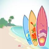 Aventura que practica surf en una isla tropical stock de ilustración