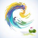Aventura que surfa em ondas elevadas ilustração stock