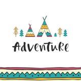 Aventura - rotulação tirada mão com o ornamento, as tendas e as árvores sem emenda étnicos Fotos de Stock