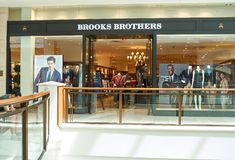 Brooks Brothers famous boutique. AVENTURA, USA - AUGUST 23, 2018: Brooks Brothers famous boutique in Aventura Mall. Brooks Brothers is the oldest men's clothier royalty free stock photography