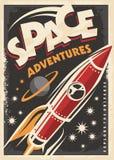 Aventuras do espaço, projeto retro do cartaz ilustração do vetor
