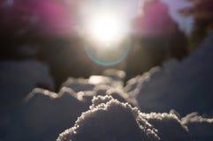 Aventuras do inverno Abstração da neve carpathians ucrânia foto de stock
