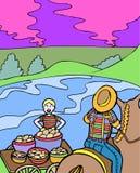 Aventuras do miúdo: Cultivo da batata Imagens de Stock Royalty Free