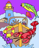 Aventuras do miúdo: Maine de visita Imagem de Stock