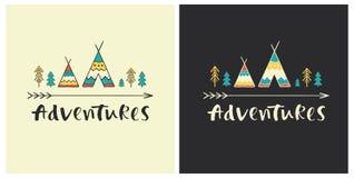 Aventuras - rotulação tirada mão no estilo étnico com ícones da tenda Imagens de Stock