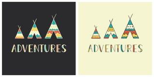 Aventuras - rotulação tirada mão no estilo étnico com ícones da tenda Fotografia de Stock