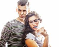 Aventure amoureuse au travail, aux jeunes jolis couples, à l'homme et à la femme ensemble d'isolement sur le fond blanc, commis d Photo stock