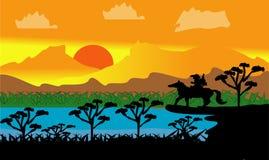 Aventure 2019 de cowboy de paysage de vecteur illustration de vecteur