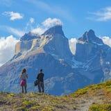 Aventure de trekking dans le Patagonia, Chili photos stock