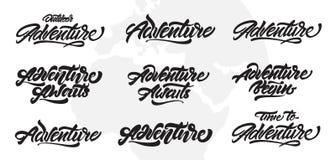 Aventure marquant avec des lettres l'ensemble de inspiration de typographie L'aventure attend Conception de lettrage de vecteur p illustration de vecteur