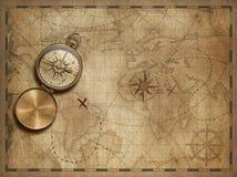 Aventure-se e explore-se com elementos náuticos velhos do mapa da ilustração do mapa do mundo 3d são fornecidos pela NASA ilustração royalty free