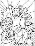 Aventureiro da cadeira de rodas - preto e branco ilustração royalty free