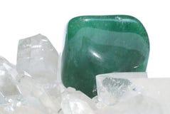 Aventurine gem. Laid on quartz crystals Stock Photo