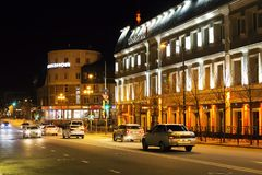 Russia, Kazan, may 1, 2018, Avenue with cars in the lights of the night city, editorial royalty free stock image