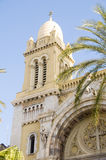 avenue cathedral de保罗・ st vincent的突尼斯 库存照片