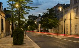 Avenue Champagne Epernay Night. Epernay, France - June 13, 2017: Avenue de Champagne with several Champagne houses along the road during night and driving car Stock Photography