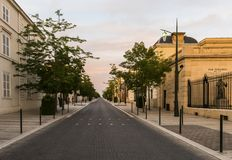 Avenue Champagne Epernay Sunset. Epernay, France - June 13, 2017: Avenue de Champagne with several Champagne houses along the road during sunset in Epernay Royalty Free Stock Photography