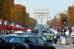 avenue Champs Elysees - one of a famous touristic attractions in stock photos