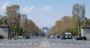 The Avenue of Champs Elysees in spring, Paris, France. The Avenue of Champs Elysees, Paris stock photo