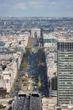Avenue Charles de Gaulle and the Arc de Triomphe. View from the Grande Arche on the Avenue Charles de Gaulle and the Arc de Triomphe. Paris. France Stock Photos