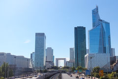 The Avenue Charles de Gaulle and La Defense Royalty Free Stock Photography