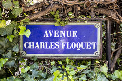 Avenue Charles Floquet - old street sign in Paris Stock Photo