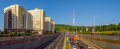 Avenue d'Almaty - d'Al-Farabi Image libre de droits