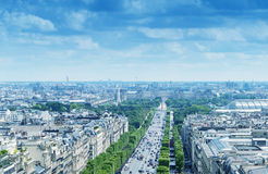 Avenue de Champs Elysees, aerial view of Paris.  stock photography