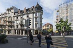 Avenue de la Gare Vevey, Suisse Images libres de droits