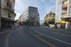 Avenue de la Gare Vevey, Suisse Photographie stock libre de droits