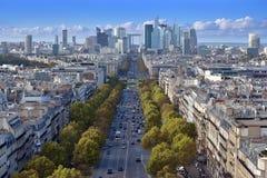 The Avenue de la Grande Armee. The Avenue de la Grande Armee direction to business district La Defense in Paris, France Stock Photography