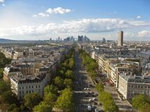 Avenue de la Grande Armee and La Defense Paris Stock Photos