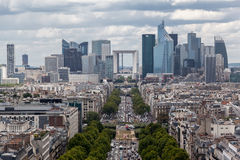 Avenue de la Grande Armee and La Defense Paris Royalty Free Stock Photo