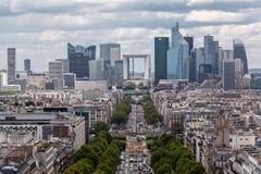Avenue de la Grande Armee and La Defense Paris Royalty Free Stock Photo