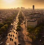 Avenue de la Grande Armee in Paris and la Defense Stock Images