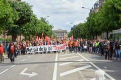 Avenue de la Liberte con los protestors Fotografía de archivo