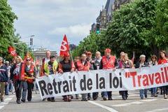 Avenue de la Liberte con los protestors Foto de archivo libre de regalías
