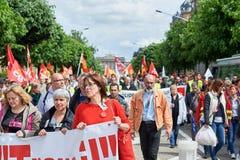 Avenue de la Liberte con los protestors Fotografía de archivo libre de regalías